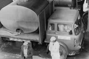 Kerry in the 1970s. A black and white photograph of a milk truck in the 1970s.